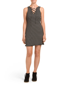 Juniors Sleeveless Tie Up Stripe Dress