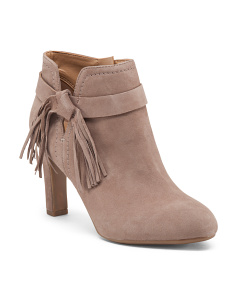 Suede Fringe And Knot Booties