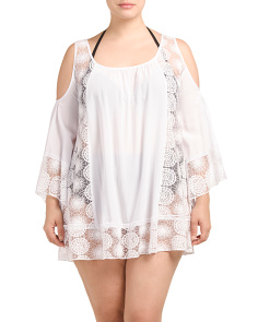 Plus Cold Shoulder Swim Cover-Up