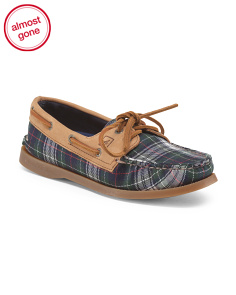 Canvas 2-Eye Plaid Flat