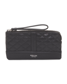 Leather Black Quilted Wristlet
