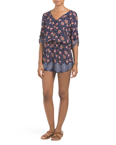 Juniors Printed Tab Sleeve Romper