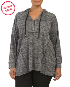 Plus Half Zip Raglan Sleeve Tunic