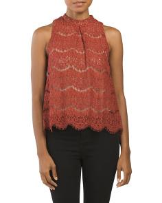 Juniors Lace Mock Neck Top