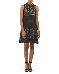 Juniors Lace Mock Neck Dress
