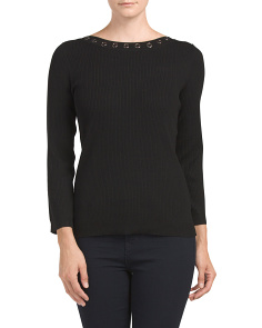 Ribbed Boat Neck Top