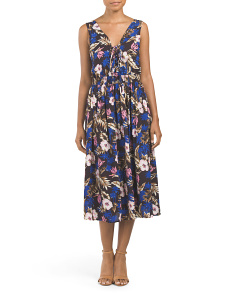 Juniors Palm Tree Printed Midi Dress
