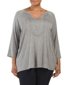 Raglan Top With Detailed Neckline