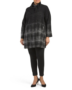 Plus Ombre Plaid Coat