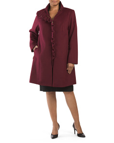 Plus Wool Blend Kenya Ruffle Coat