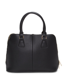 Leather Double Handle Dome Satchel