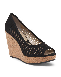 Peep Toe Chop Out Cork Wedge