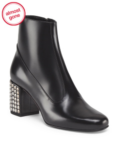 Made In Italy Leather Ankle Bootie With Studded Heel