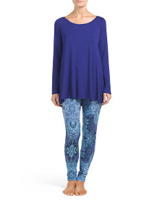 Long Neck Swingy Top With Printed Leggings