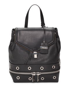Made In Italy Leather Backpack With Grommets