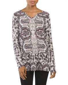 Printed Long Sleeve Peplum Top