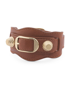 Made In Italy Arena Giant Cognac And Gold Leather Bracelet
