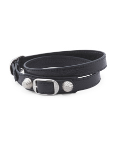 Made In Italy Leather Giant Wrap Black And Silver Bracelet