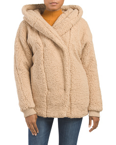 Juniors Faux Fur Hooded Jacket