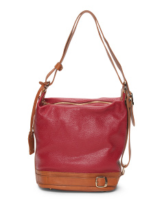 Made In Italy Leather Bucket Bag