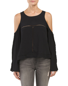 Cold Shoulder Sleeve Top With Trim