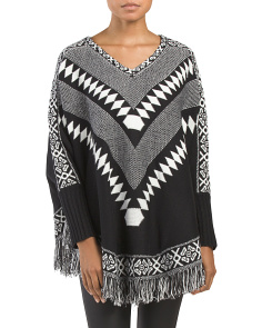 Juniors Fringed Hem Poncho