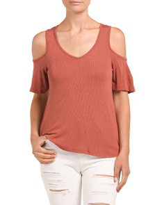 Juniors Speckled Cold Shoulder Top