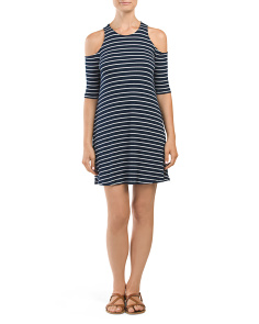 Juniors Striped Cold Shoulder Swing Dress