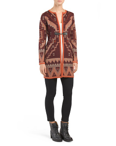 Aztec Patterned Sweater Duster