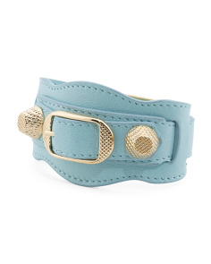Made In Italy Arena Giant Light Blue And Gold Leather Bracelet