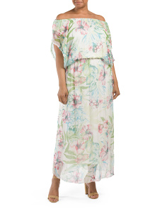 Plus Made In Italy Silk Tropical Blouson Dress