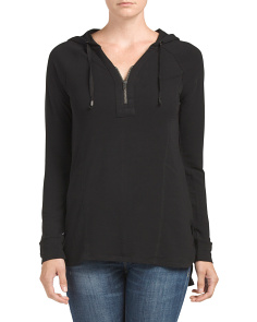 Half Zip Hooded Hi Lo Tunic