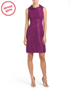 Envelope Neck Sheath Dress With Brooch