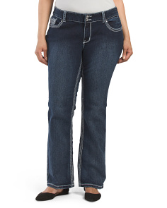Plus Price Pocket Detail Slim Boot Cut Jean