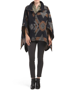 Juniors Button Front Aztec Poncho