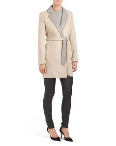 Wool Blend Two Tone Belted Coat