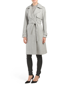 Wool Blend Belted Heavy Trench Coat
