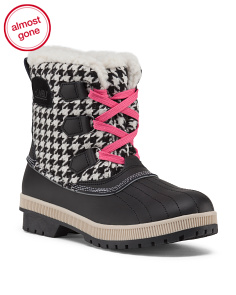 Duck Boots With Plaid Trim
