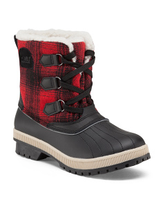 Plaid Trim Duck Boots