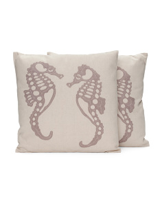 18x18 2pk Embroidered Linen Pillow