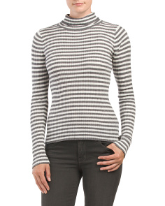 Skinny Rib Striped Turtleneck