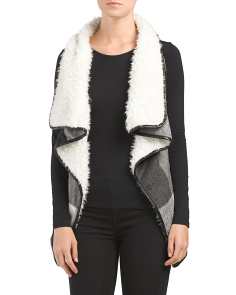 Juniors Printed Faux Fur Lined Vest