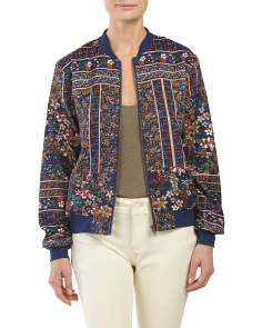 Juniors Border Print Bomber Jacket