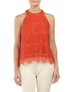 Juniors Lace High Neck Top