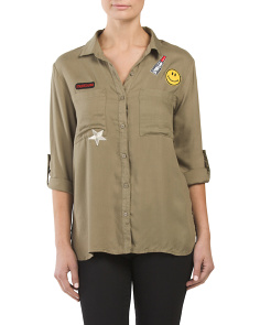 Juniors Patch Button Down Shirt