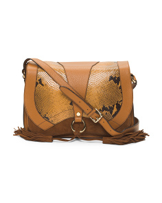 Made In Italy Leather Python Flap Shoulder Bag