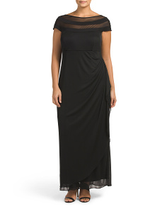 Plus Illusion Neck Gown