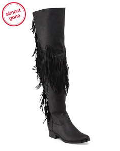 Over The Knee Leather Fringe Boot