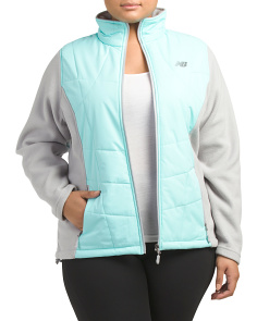 Plus Active Fleece Jacket With Quilted Overlay
