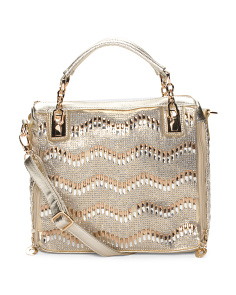 Zig Zag Crystal Braid Satchel